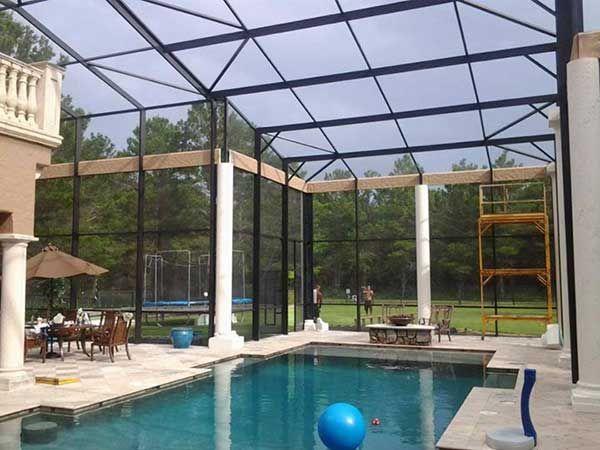 Pool Enclosure Re Screen Screen Repair Florida Room Backyard Pool Pool Enclosures
