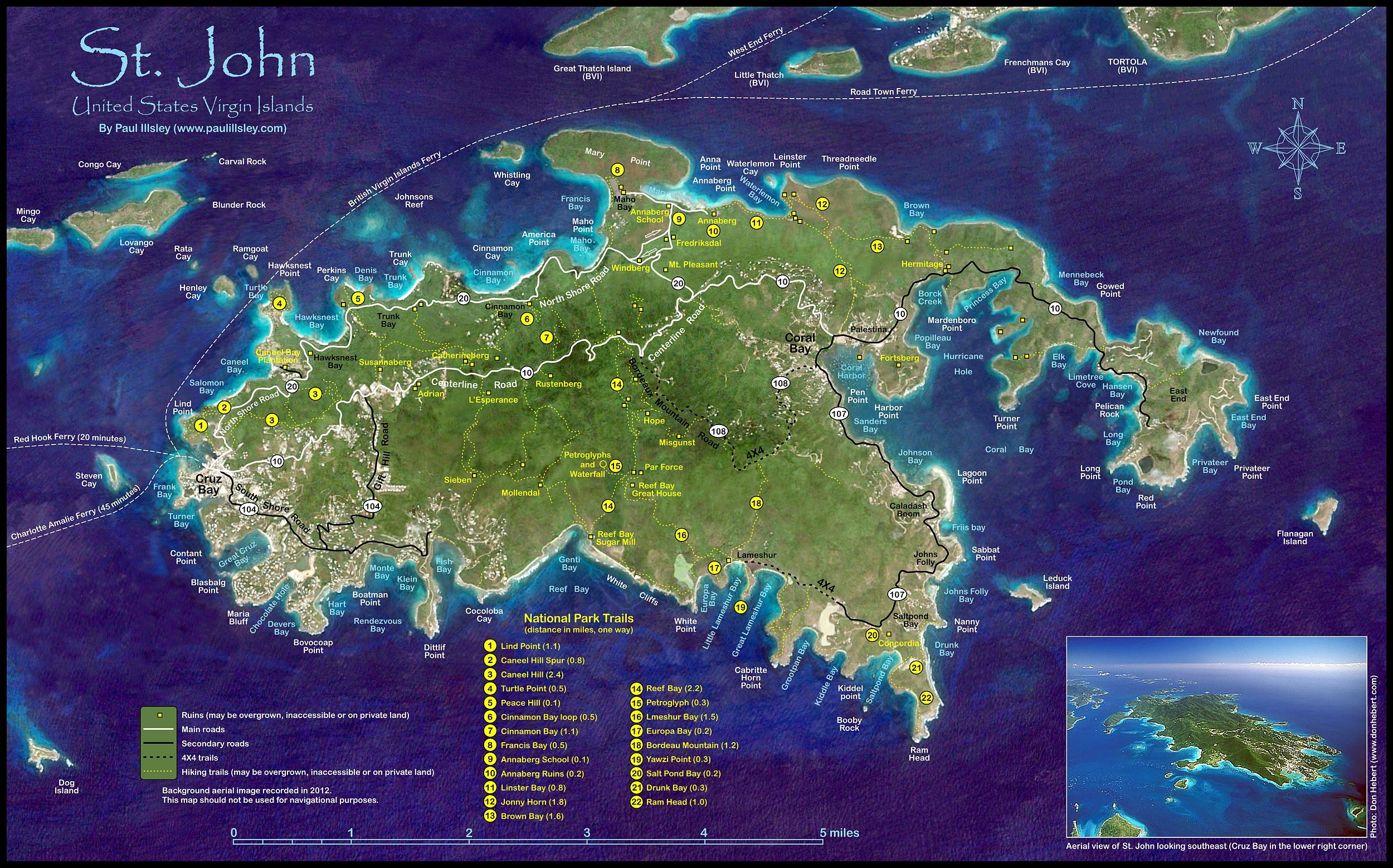 St John trail map with descriptions and times Caribbean Cruise