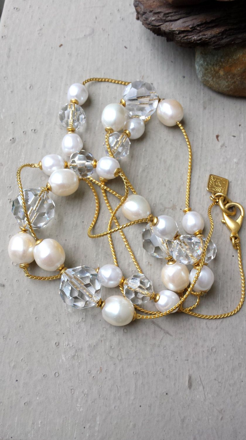 cdf93611d95a Classic Anne Klein Long White Faux Pearl Clear Glass Crystal and Gold Tone  Metal Chain Necklace 37
