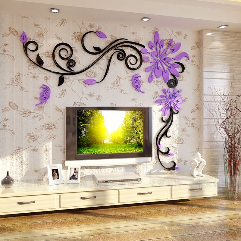 acrylic crystal flower vine 3d wall stickers living room wall