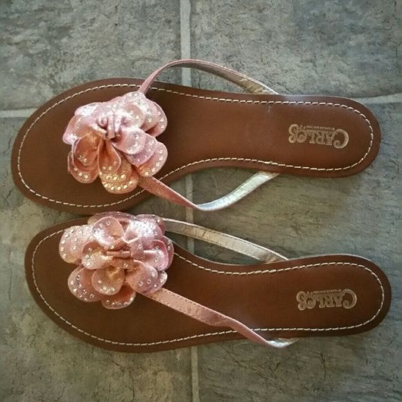 Peachy sandals Peachy color with bling. Flat sandal. Very cute! Size 8.5 but I wear usually a 7.5 & 8 & they fit me just fine. Shoes Sandals