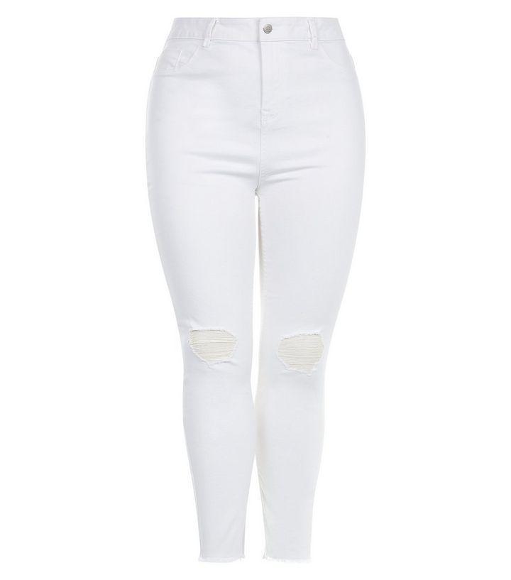 Curves - Weiße Jenna Skinny Jeans mit hohem Bund  34,99 €