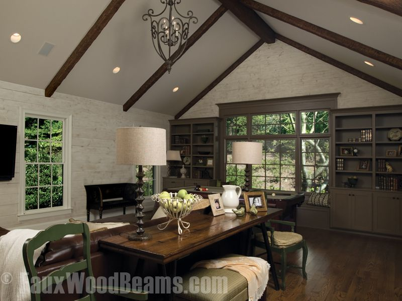 Custom Timber Beams Are Perfect For Living Rooms And Dens Ceiling Lights Living Room Ceiling Beams Living Room Beams Living Room