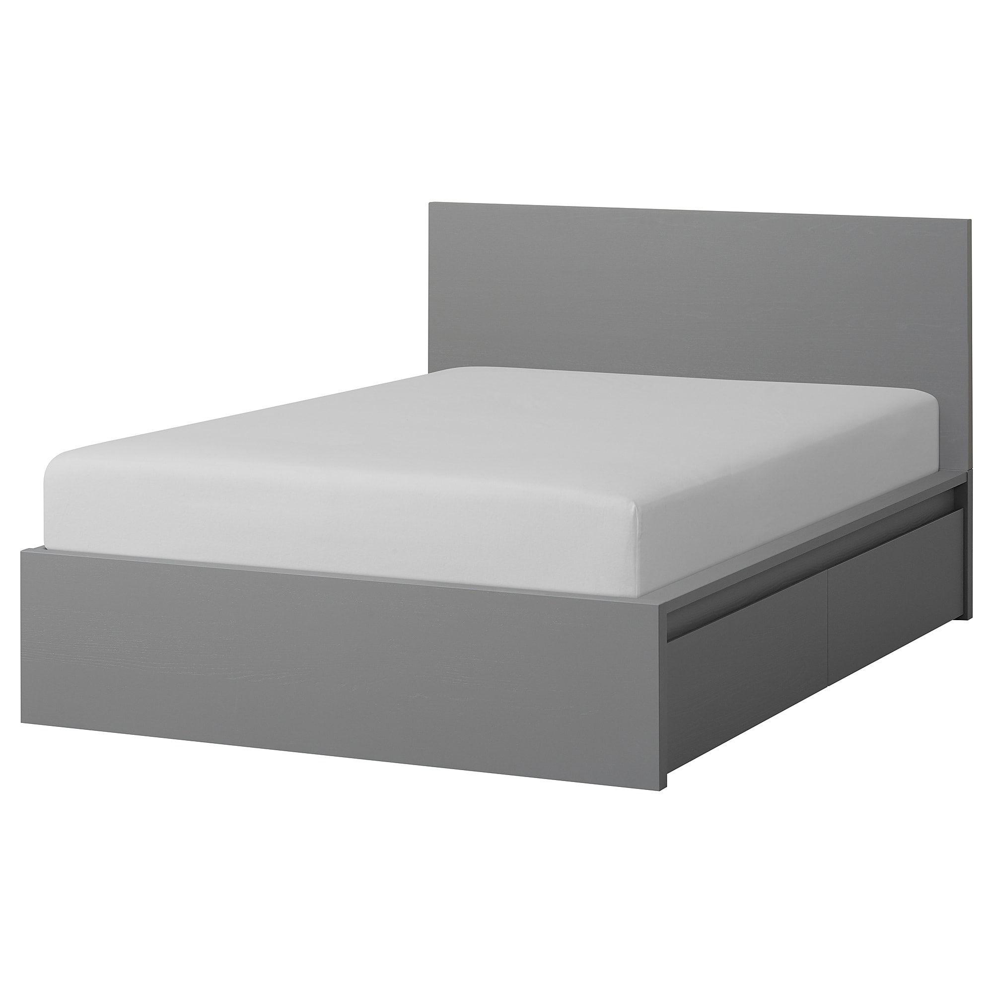 Malm Bettgestell Hoch Mit 4 Schubladen Grau Las Ikea Deutschland In 2020 High Bed Frame Malm Bed Malm Bed Frame