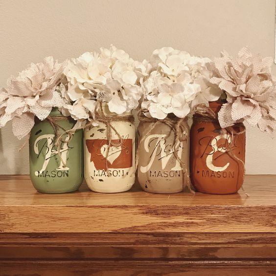 Mason Jar Home Decor Ideas Montana Home Mason Jars  Rustic Home Decor  Sage Ivory Tan And