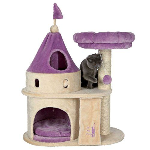 Princess Cat Condo Treat Your Kitty To This Luxury Castle Condo Feature Soft Plush Material Peek A Boo Hole At Top Scratc Cat Castle Cat Tree Cat Furniture