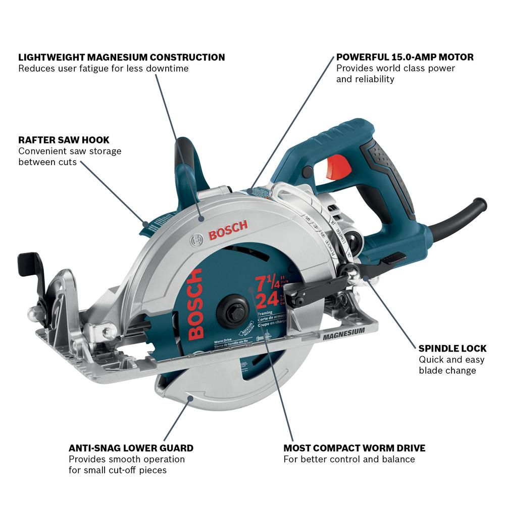 Bosch 15 Amp 7 1 4 In Corded Magnesium Worm Drive Circular Saw With Carbide Blade Csw41 The Home Depot In 2020 Worm Drive Circular Saw Worm Drive Circular Saw