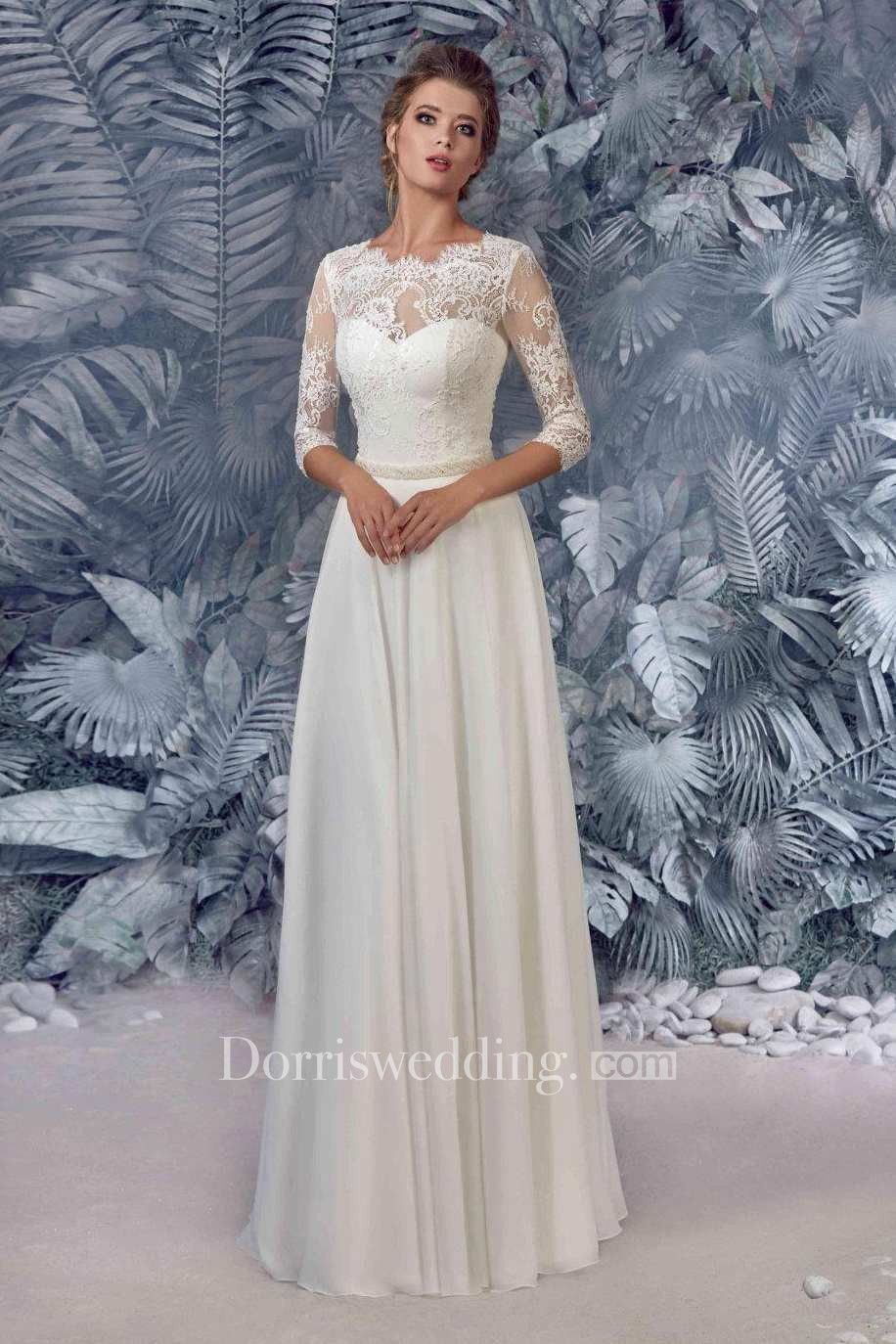 Chiffon satin beaded lace wedding dress fall wedding ideas