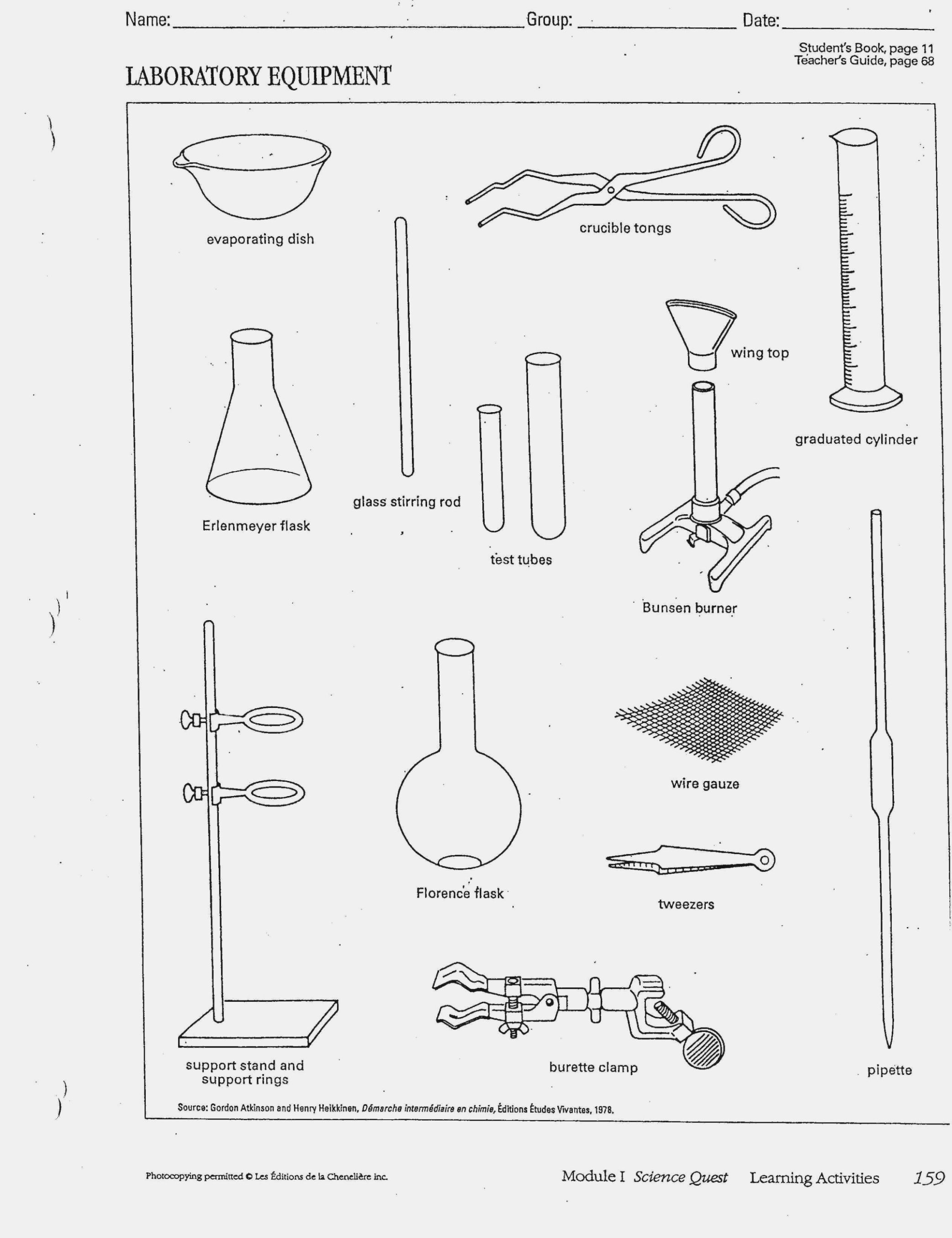Lab Equipment Worksheet