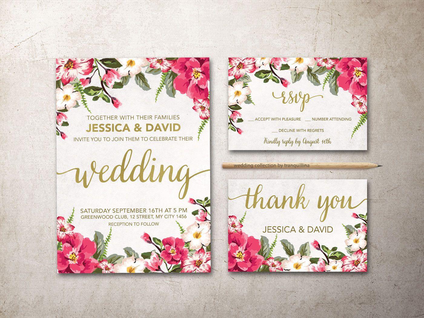 Floral Wedding Invitation, Printable Wedding Invitation Suite, Pink ...