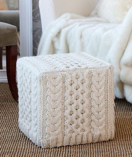 Poufs Ottomans Hassocks To Knit 12 Free Patterns Grandmother 39 S Pattern Book Knitted Ottoman Crochet Home Ottoman Cover