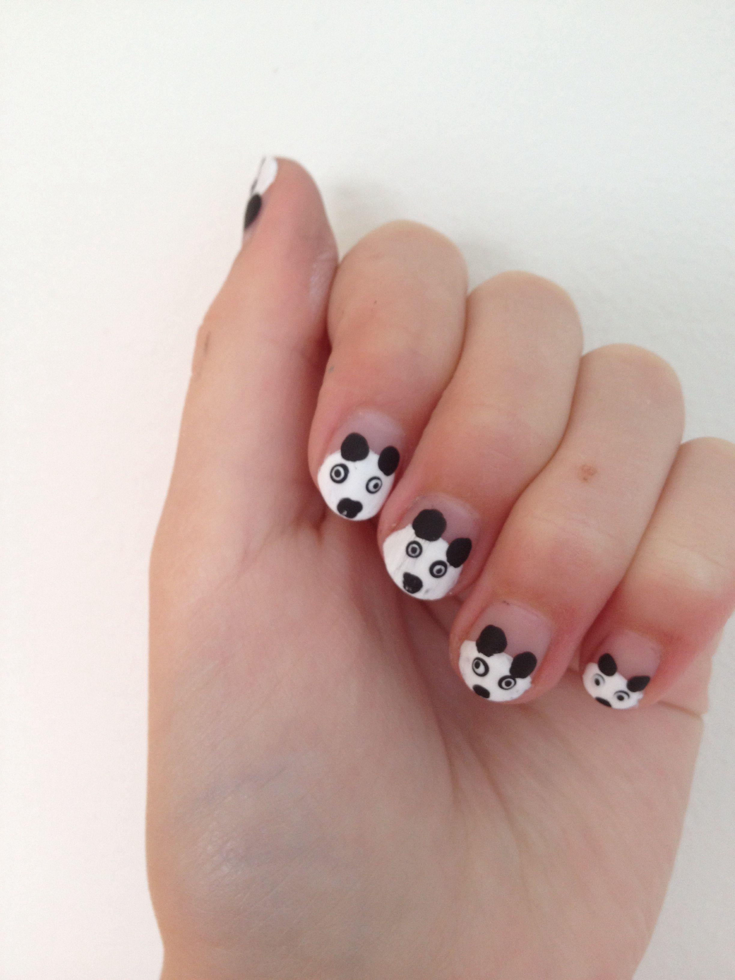 Panda design nails