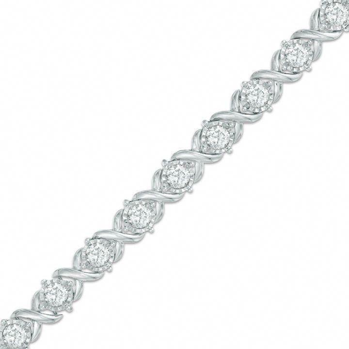 Zales 4 Ct T W Diamond Tennis Bracelet In 10k White Gold