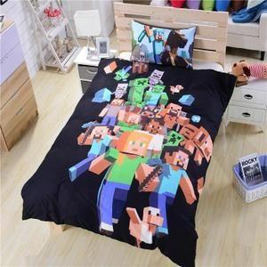 housse de couette parure de lit enfant minecraft pour 1 personne 140 minecraft jojo. Black Bedroom Furniture Sets. Home Design Ideas