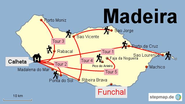 Bild Karte von Madeira mit den 5 Wanderrouten COUNTRIES