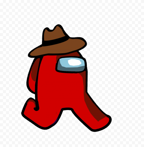 Hd Red Among Us Character Walking With Cowboy Hat Png In 2021 Cowboy Hats Character Red