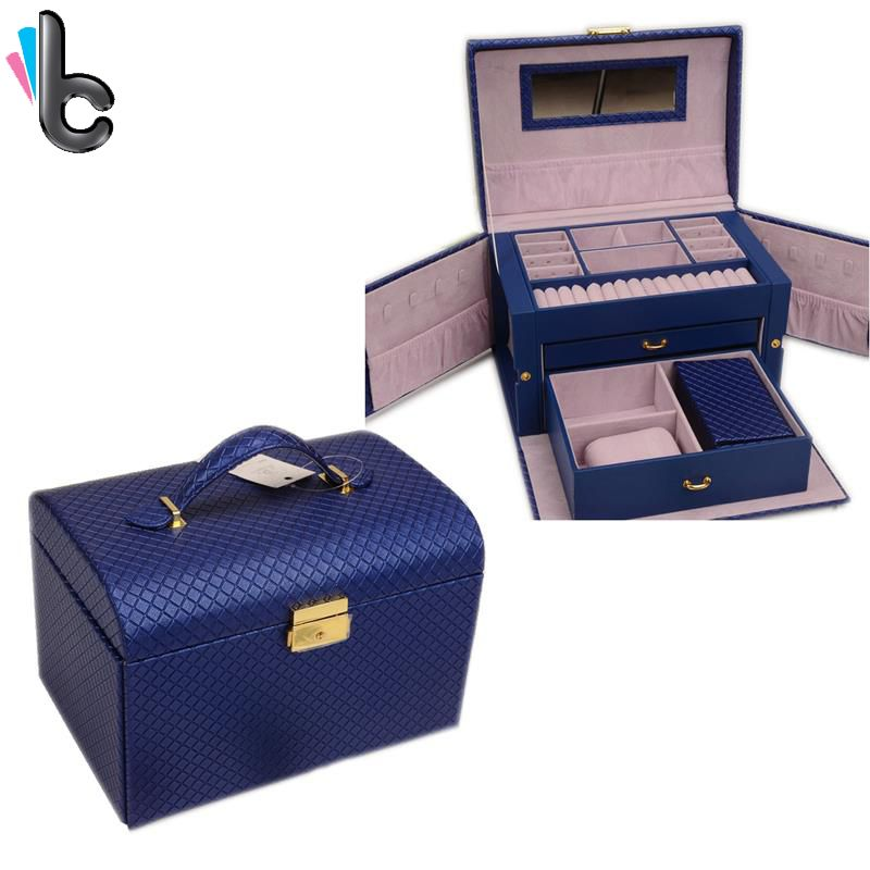 Large Capacity Pu Leather Luxury Jewelry Storage Box with Drawer