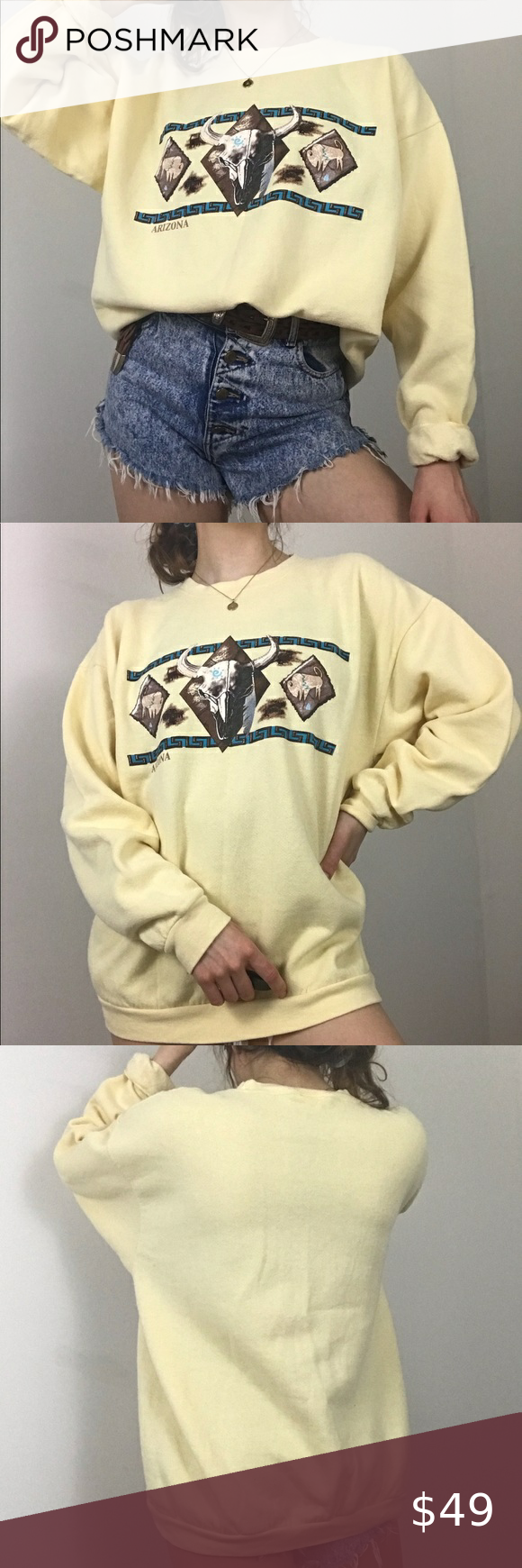 Vintage 90s Yellow Longhorn Skull Arizona Crewneck Novelty Sweater Top Shirt Sweatshirt Tops [ 1740 x 580 Pixel ]