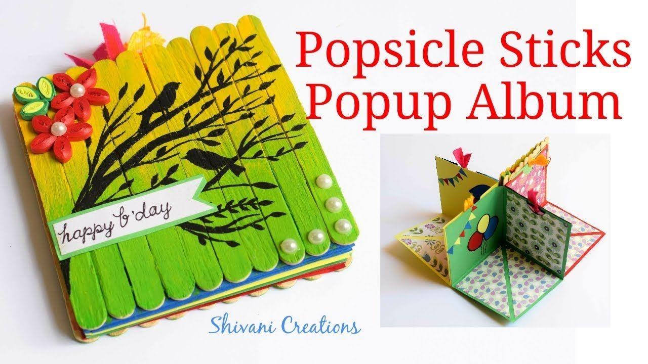 DIY Popsicle Stick Album How To Make Birthday Scrapbook Popup Card
