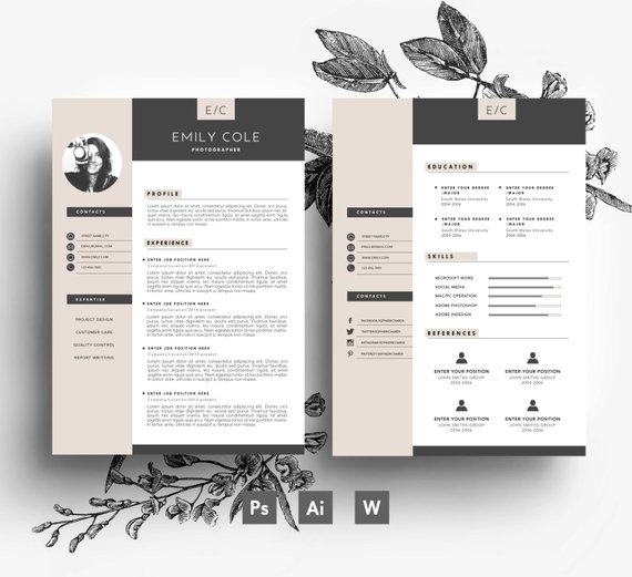 custom 3 page cv template   business card   2 page   cover