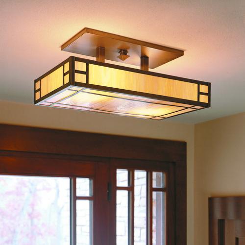 Ceiling Light, Foyer Lights Square Lamp Bronze Glass Warisan Lighting  Wooden Material Modern Lamps For