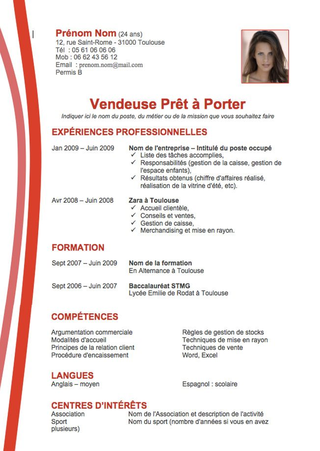 Big Exemple Cv Creatif Rouge Jpg 652 917 Exemple Cv Cv Vendeur Curriculum Vitae