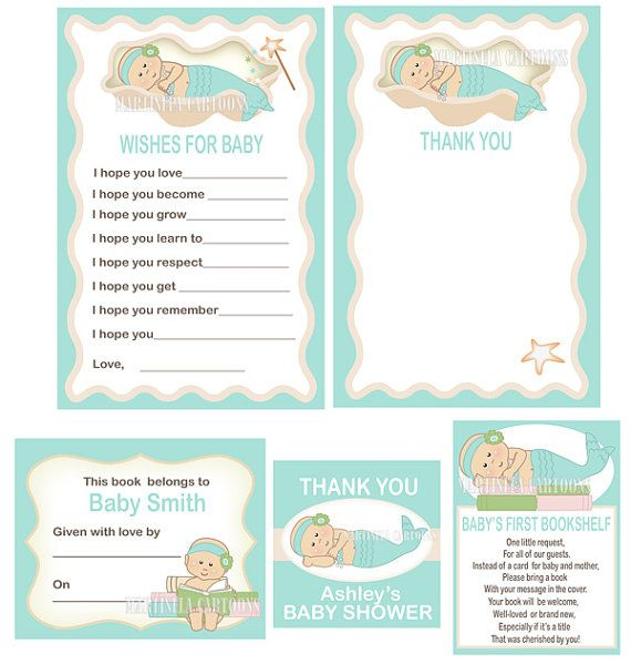 Mermaid baby shower invitation, sweet little mermaid girl DIY - printable baby shower invite