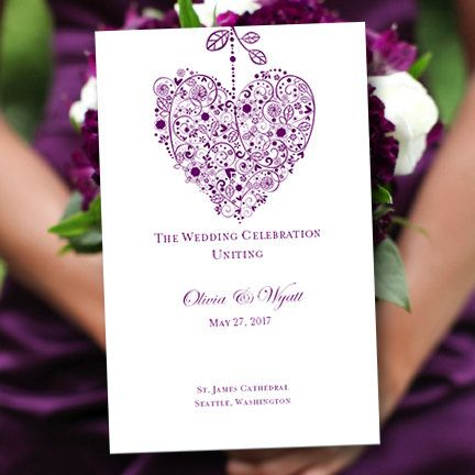printable wedding program template hearts purple 8 5 x. Black Bedroom Furniture Sets. Home Design Ideas