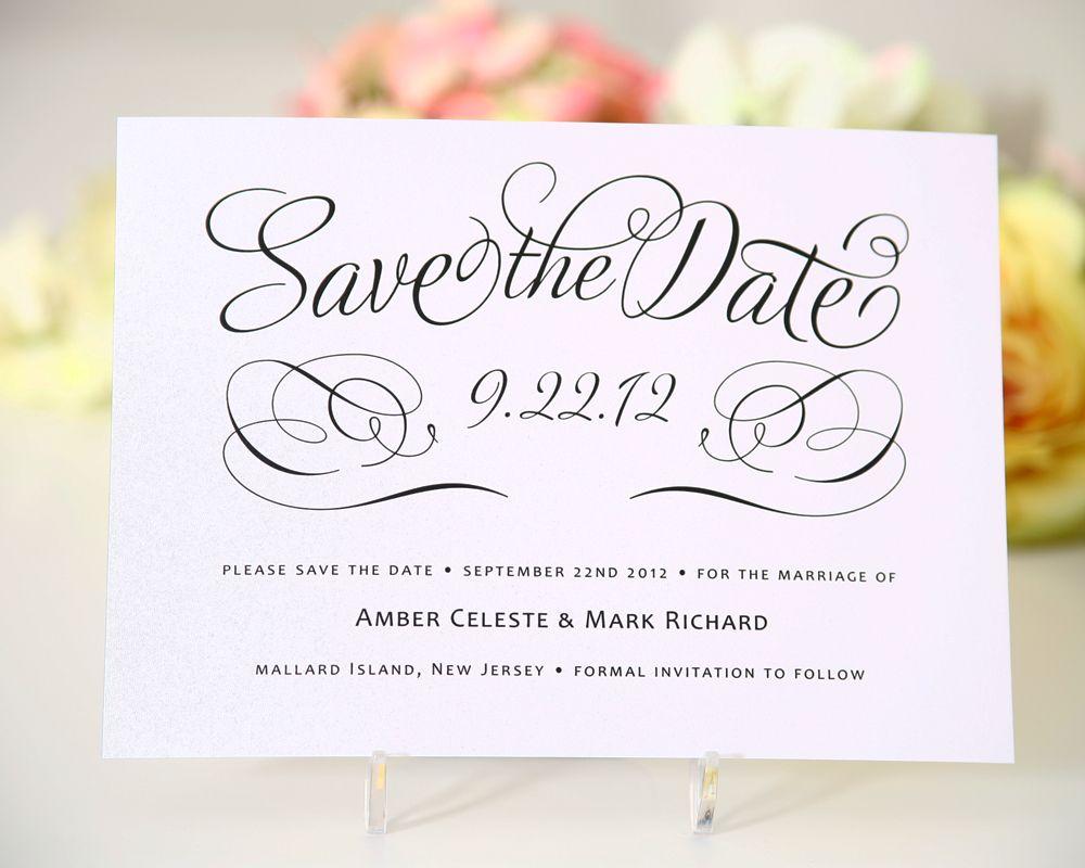 Save the date com caligrafia delicado e chique – Wedding Save the Date Card