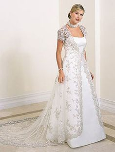 White and silver wedding dress lace