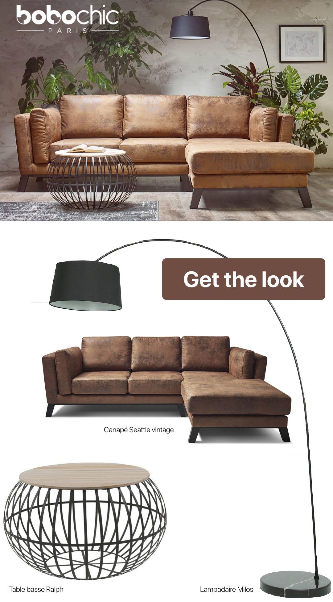 Comment Creer Un Salon Style Industriel Atelier Loft Grace A Bobochic Et Le Canape Angle Cuir Salon Style Industriel Canape Angle Canape Style Industriel
