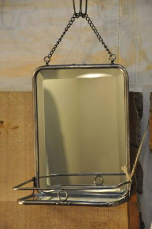 Miroir nickel avec tablette en verre Chehoma | Tablette en verre ...