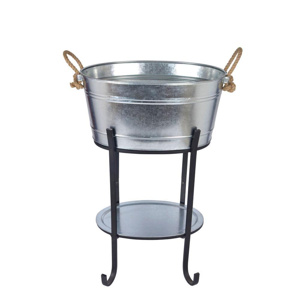 Hampton Bay Oval Beverage Tub In Galvanized Metal With Tray And Stand Ds 23756 Beverage Tub Galvanized Metal Galvanized Tub