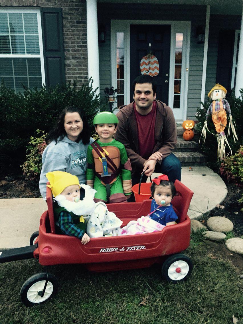 Daniel and Kristal with Sawyer, Elijah and Hazel at Halloween