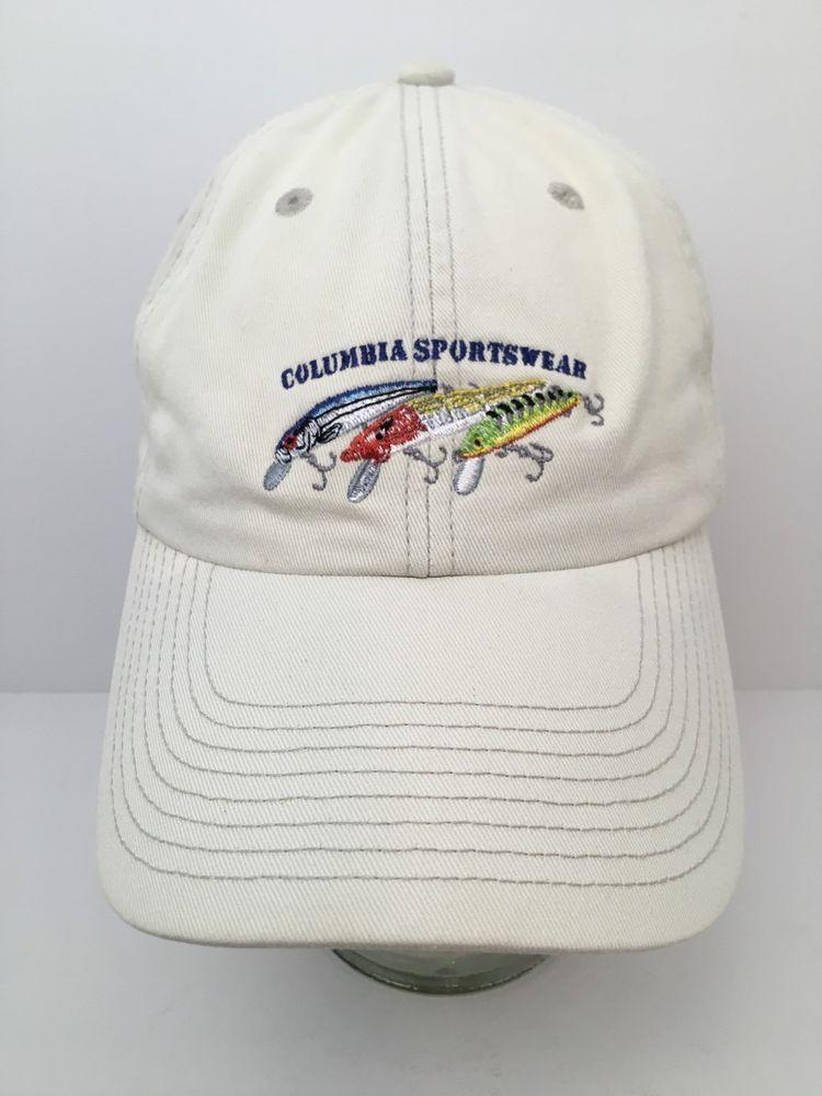 Columbia Sportswear Fishing Lure Hat Baseball Cap Khaki Embroidered Columbiasportswear Baseballcap Baseball Hats Columbia Sportswear Embroidered Fish
