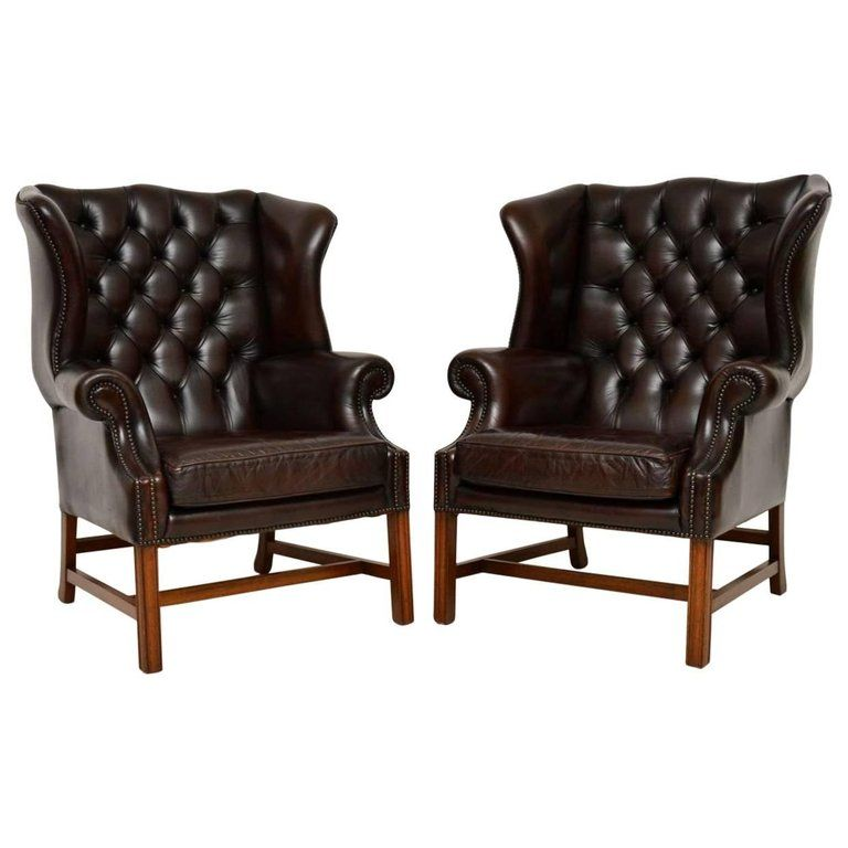 Pair Of Antique Leather Wing Back Armchairs Leather Wing Chair