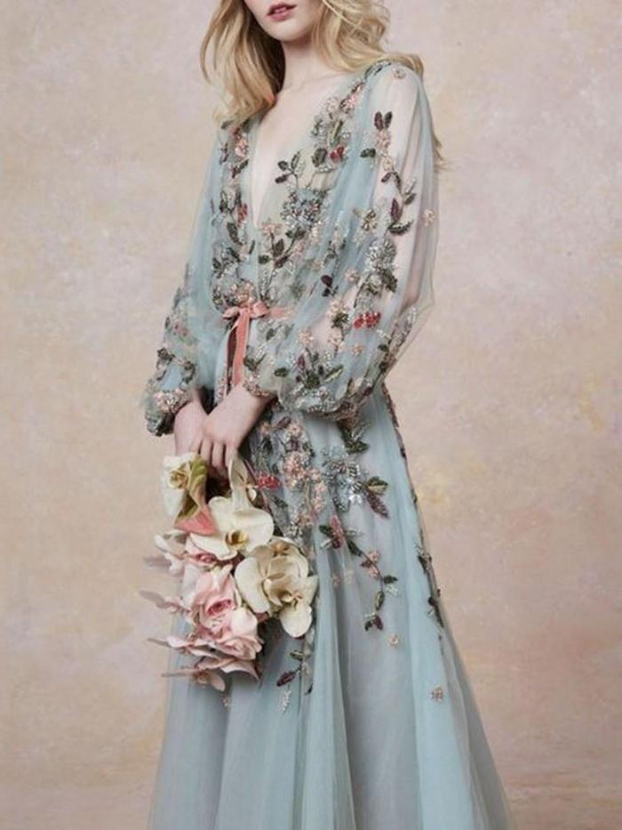 Ankle-Length Embroidery V-Neck Western Lantern Sleeve Dress