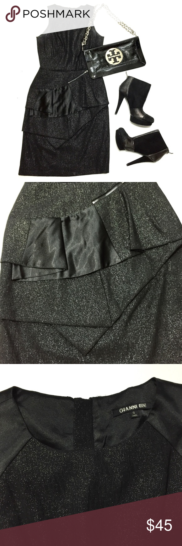 LBD Shimmer Dress Beautiful black dress with shimmer fabric and ruffle. Very flattering fit. Wore once. Needs to be dry cleaned it has a bit deodorant staining under armpits. Gianni Bini Dresses