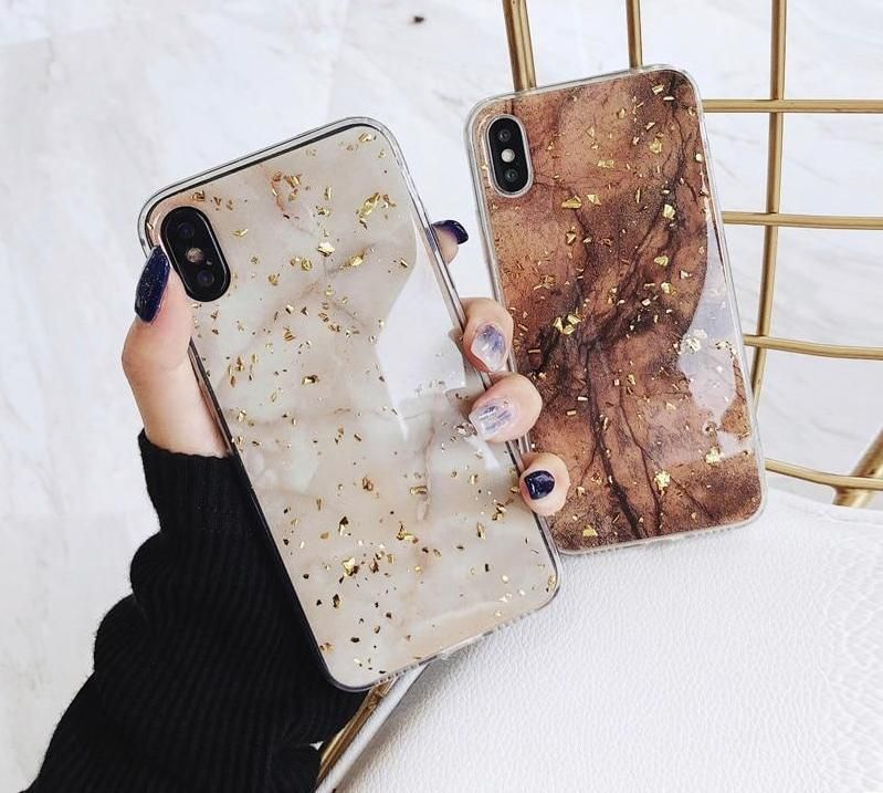 Golden glitter foil marble phone case for iphone x xs max