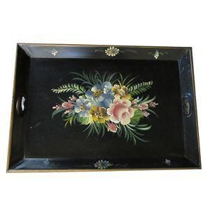 A beautiful and generously sized French tole ware serving tray, perfect for summertime! Colors are very true and vivid, very nice vintage condition. Lovely floral designs, would make excellent trays for serving at your wedding or garden event.