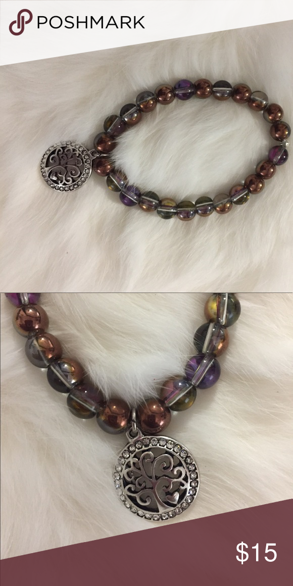 Handmade multicolor beaded bracelet with charm Handmade multicolored beaded bracelet with family tree silver Charm Jewelry Bracelets