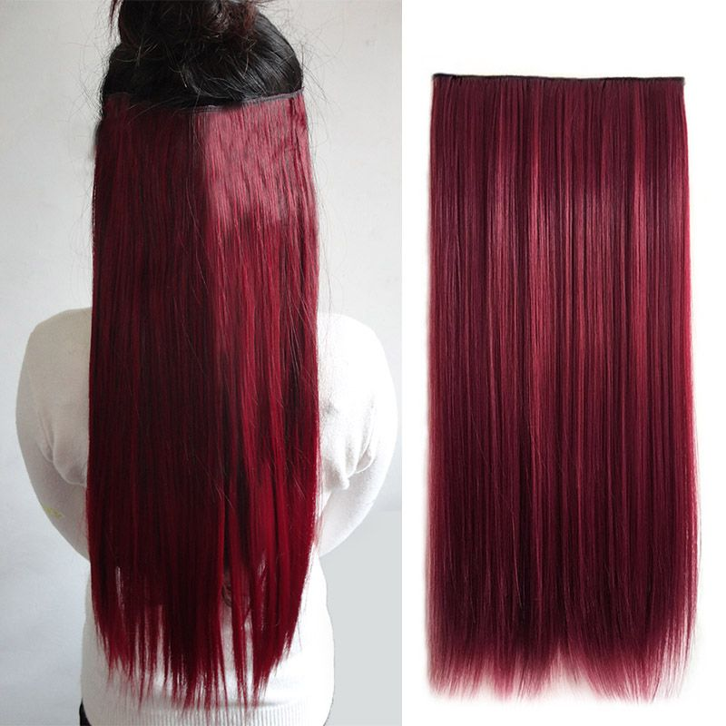 5 Clip In Hair Extensions Wine Red Synthetic Hairpiece Long Straight