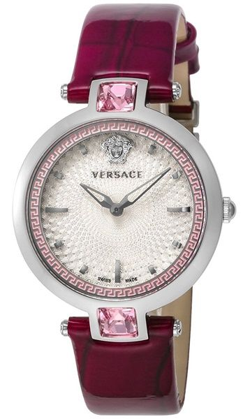 c221d45394399 Versace Crystal Gleam VAN010016 Women s Guilloche Dial and Violet Leather  Band Watch