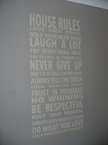 House rules in subway art. Love it!