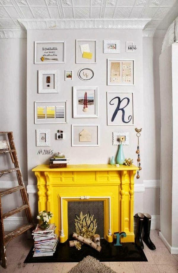 Yellow Fireplace Mantel Home Interior Interior Design