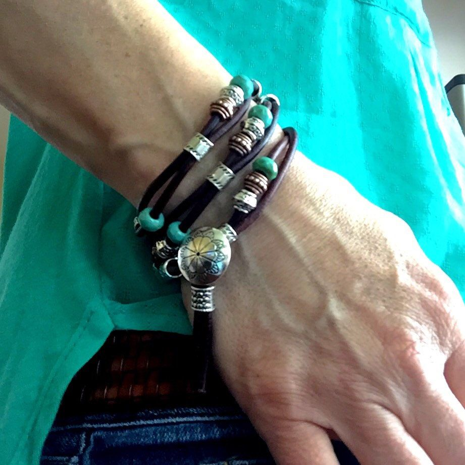New at Indie Leather: leather wrap bracelet with turquoise, silver, and copper