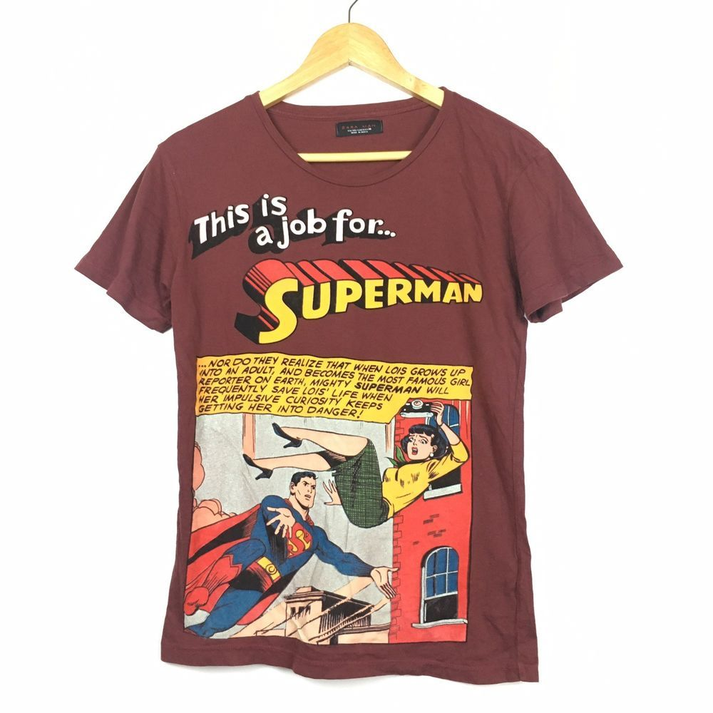 5e5388572529 Zara x DC Comics Superman Burgundy Red T-Shirt Size M #fashion #clothing  #shoes #accessories #womensclothing #tops (ebay link)