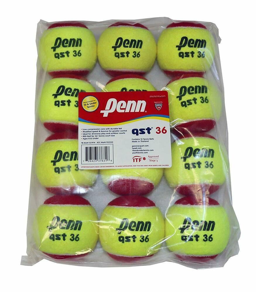 Advertisement Ebay Penn Qst 36 Tennis Balls Youth Felt Red Tennis Balls For Beginners Tennis Court Size Tennis Balls Tennis