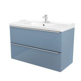 meuble sous vasque susp bleu imandra 100 cmplan vasque 100 cm lana - 100 Cm Plan Vasque