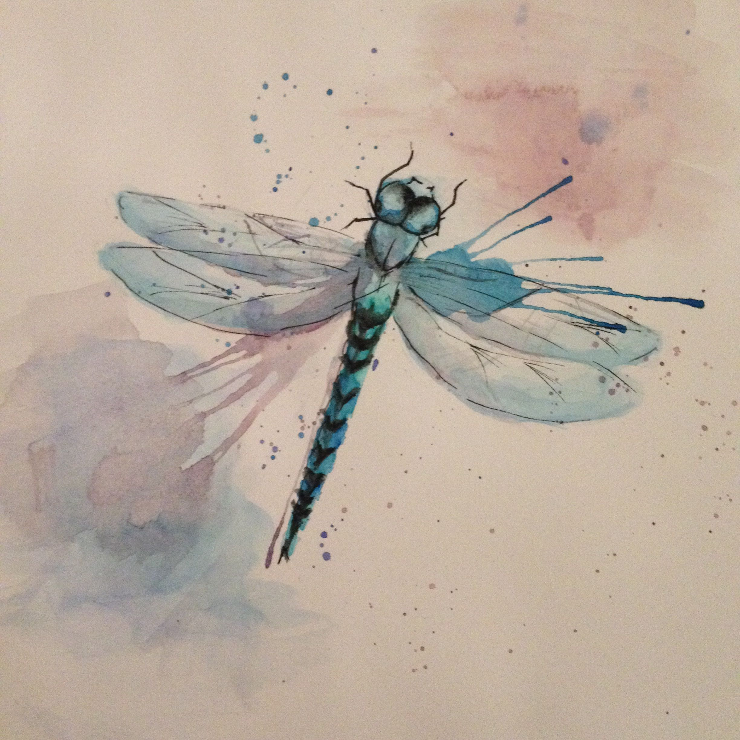 Dragonfly Art Watercolour Dragonflies And